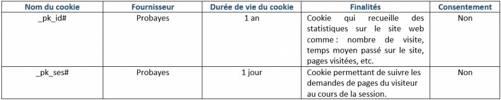Tableau récap cookies de mesure d'audience